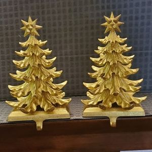 Gold Christmas Tree Stocking Hangers